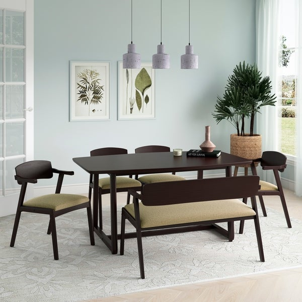 Carson Carrington Comiskey 6-piece Mid Century Modern Espresso Wood Dining Table, Arm Bench and Arm Chairs