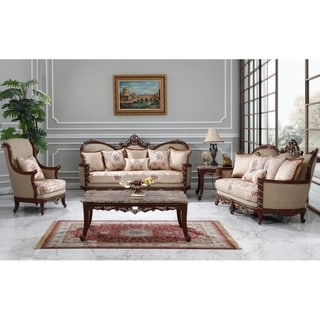 Best Master Furniture Natural Floral Upholstered 3 Pieces Living Room Set