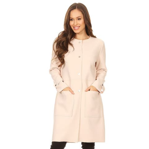 Women's Solid Crinkle Snap Closure Long Jacket