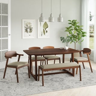 Carson Carrington Comiskey 6-piece Mid Century Modern Wood Dining Table, Armless Bench and Arm Chairs