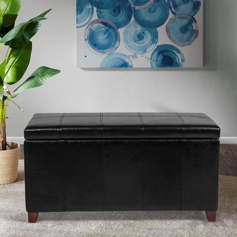 Adeco Linear Stitched Faux Leather Storage Ottoman