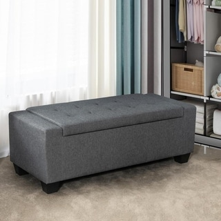 Adeco Button Tufted 47 by 19 Storage Fabric Upholstery Ottoman Bench