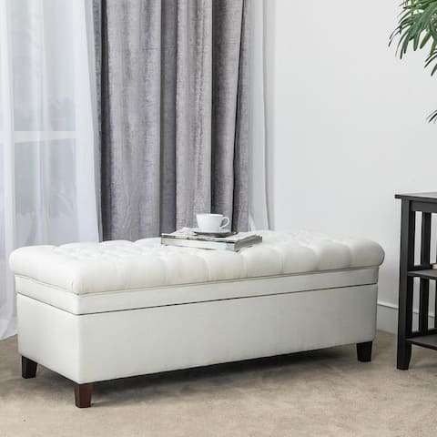 Adeco Button Tufted Cushion Padded Linen Storage Ottoman
