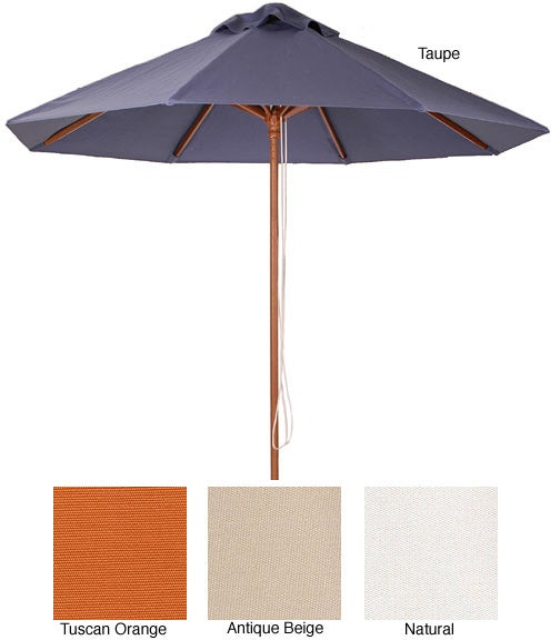 Lauren & Company Premium 9-foot Round Hard Wood Patio Umbrella