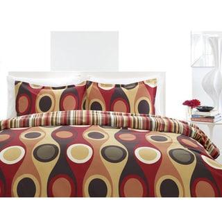 City Scene Retro Radar Red 3-piece Comforter Set