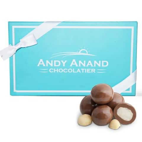 Andy Anand Milk Chocolate Macadamia Nuts Gift Boxed 1 lbs With Greeting Card