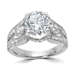 Link to 18k White Gold 2 ct TGW Round Cut Moissanite and 1ct Diamond Engagement Ring Similar Items in Rings