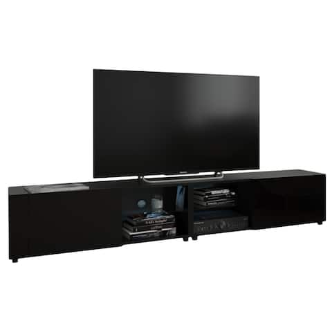 """New Best Modern 78"""" Wall Mounted Floating TV Stand with 16 Color LEDs"""