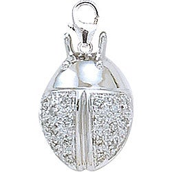 14k White Gold Diamond Ladybug Charm