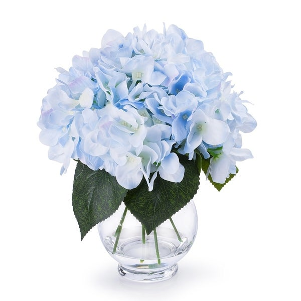 Enova Home Silk Hydrangea Flower Arrangement in Clear Glass Vase With Faux Water For Home Decoration