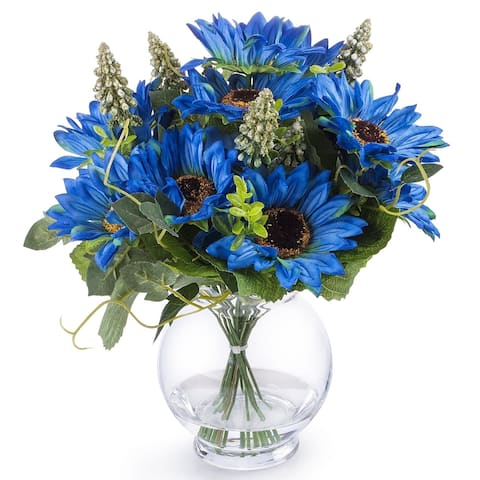 Enova Home Blue Silk Sunflower Arrangement in Clear Glass Vase For Home Office Decoration - N/A