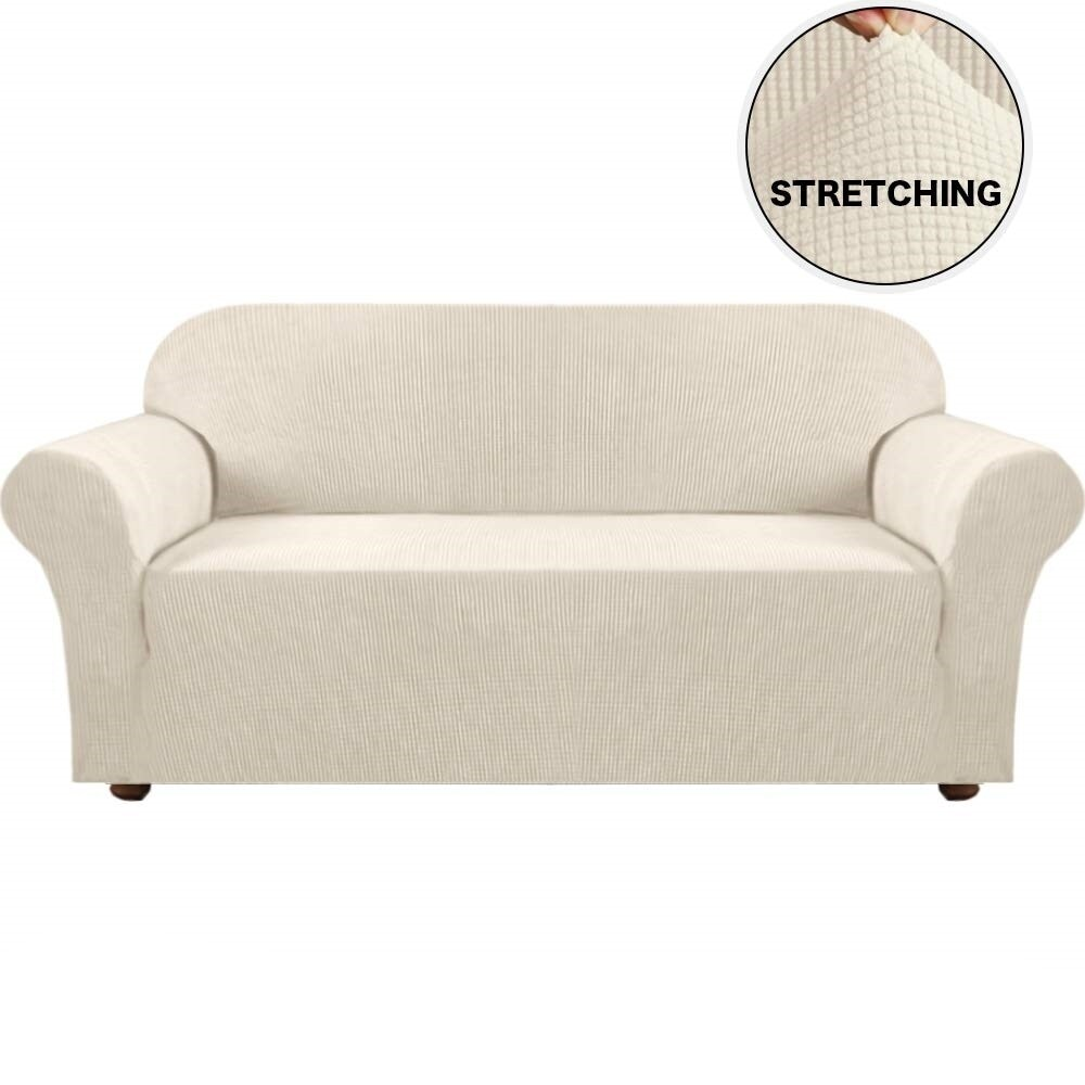 Enova Home Ivory Jacquard Spandex Fabric Box Cushion Loveseat Slipcovers