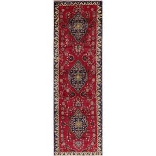 "Antique Floral Red Tabriz Persian Runner Rug Handmade Oriental Carpet - 3'2"" x 10'3"" Runner"