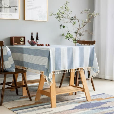 Enova Home Light Blue High Quality Rectangle Cotton and Linen Tablecloth with Tassels For Dinning Table