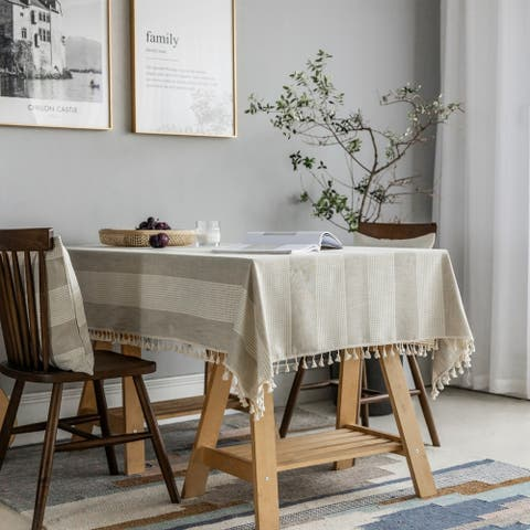 Enova Home Beige High Quality Rectangle Cotton and Linen Tablecloth with Tassels For Dinning Table