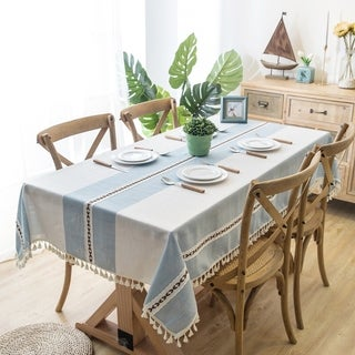 The Curated Nomad Needleridge Blue Cotton and Linen Tablecloth with Tassels