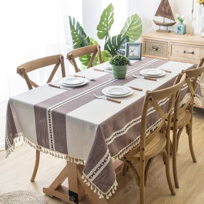 Enova Home Purple Beige High Quality Rectangle Cotton and Linen Tablecloth with Tassels For Dinning Table