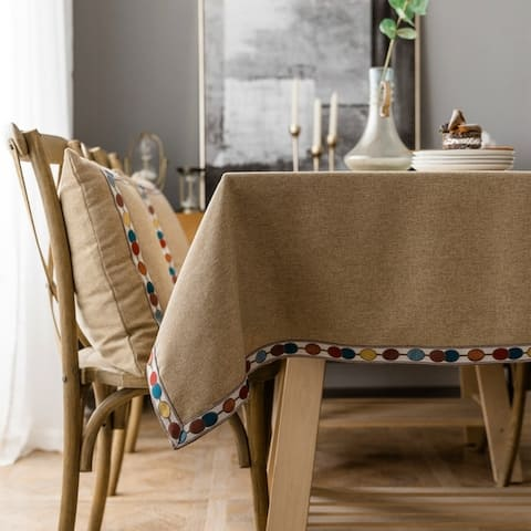 """Enova Home 54"""" x 78"""" High Quality Rectangle Cotton and Linen Water Resistant Tablecloth For Dinning Table - 54"""" x 78"""""""
