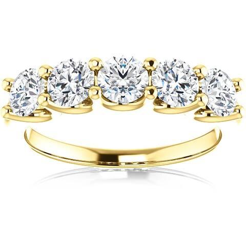 Pompeii3 14k Yellow Gold 1 1/2 Ct TDW Diamond Five Stone Wedding Ring Lab Grown (G-H/VS1-VS2)