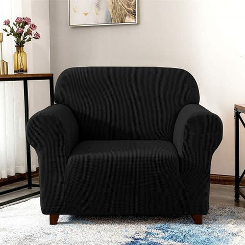 Enova Home Elegant Jacquard Polyester Spandex Fabric Box Cushion Armchair Slipcover For Living Room - N/A
