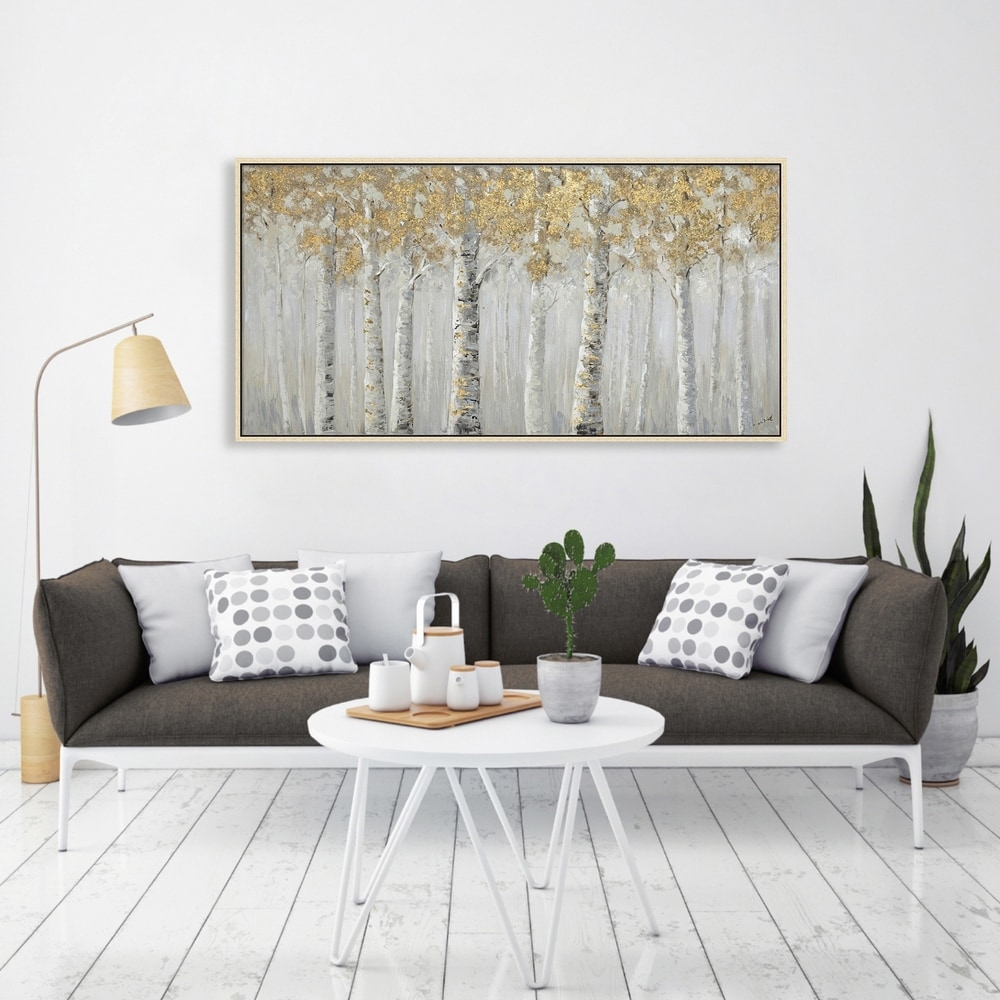 Hand Painted Acrylic Wall Art Landscape White Birch Trees on a 55 x 28 Rectangular Canvas with a Champagne Wooden Frame. Opens flyout.