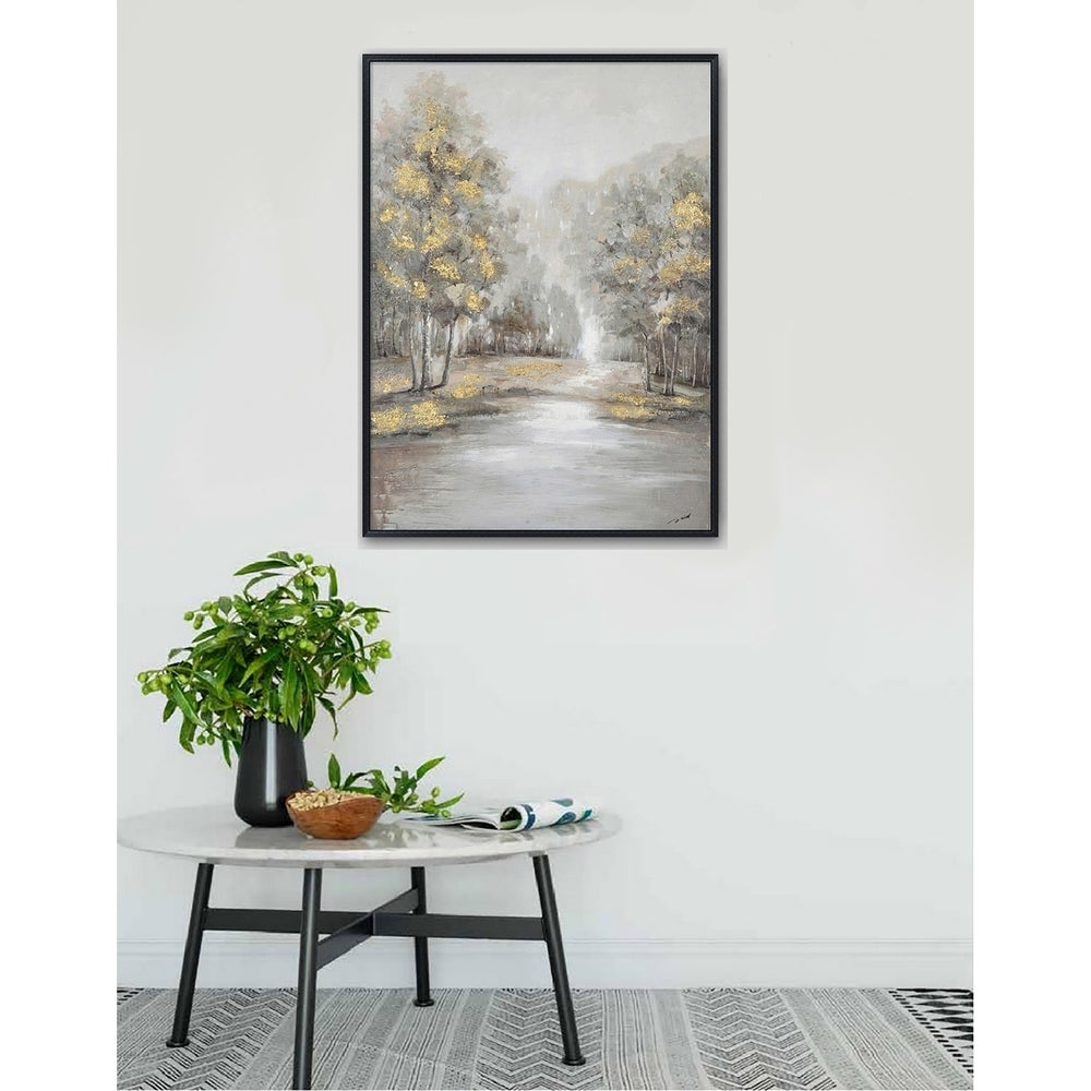 Hand Painted Acrylic Wall Art Landscape Golden Trees on a 35 x 47 Rectangular Canvas with a Black Wooden Frame. Opens flyout.