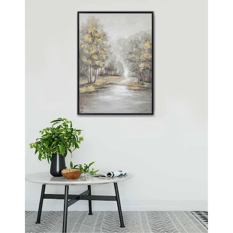 Hand Painted Acrylic Wall Art Landscape Golden Trees on a 35 x 47 Rectangular Canvas with a Black Wooden Frame