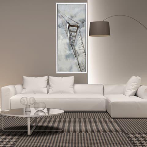 Hand Painted Acrylic Wall Art Golden Gate Bridge 32 x 71 Rectangular Canvas with a White Wooden Frame