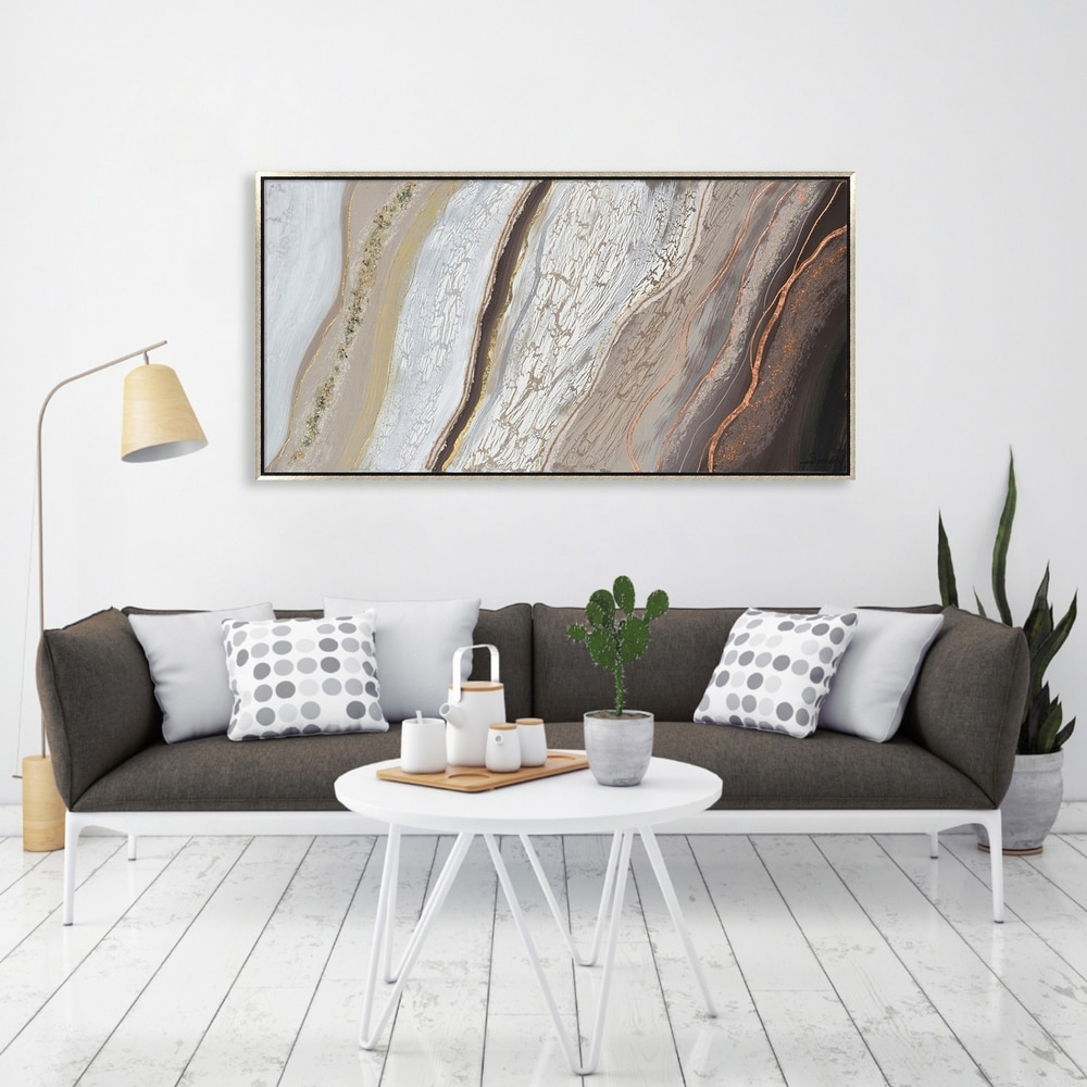Hand Painted Acrylic Wall Art Brown and Grey Abstract on a 55 x 28 Rectangular Canvas with a Silver Wooden Frame. Opens flyout.