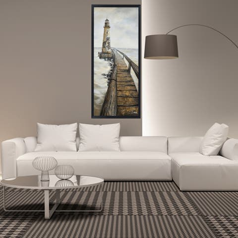 Hand Painted Acrylic Wall Art Vintage Light House 32 x 71 Rectangular Canvas with a Black Wooden Frame