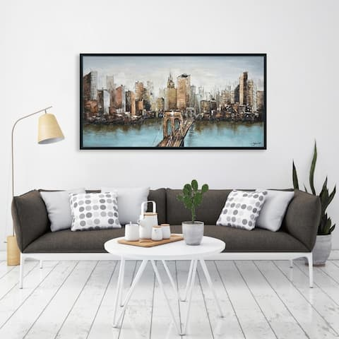 Hand Painted Acrylic Wall Art New York Cityscape on a 55 x 28 Rectangular Canvas with a Black Wooden Frame