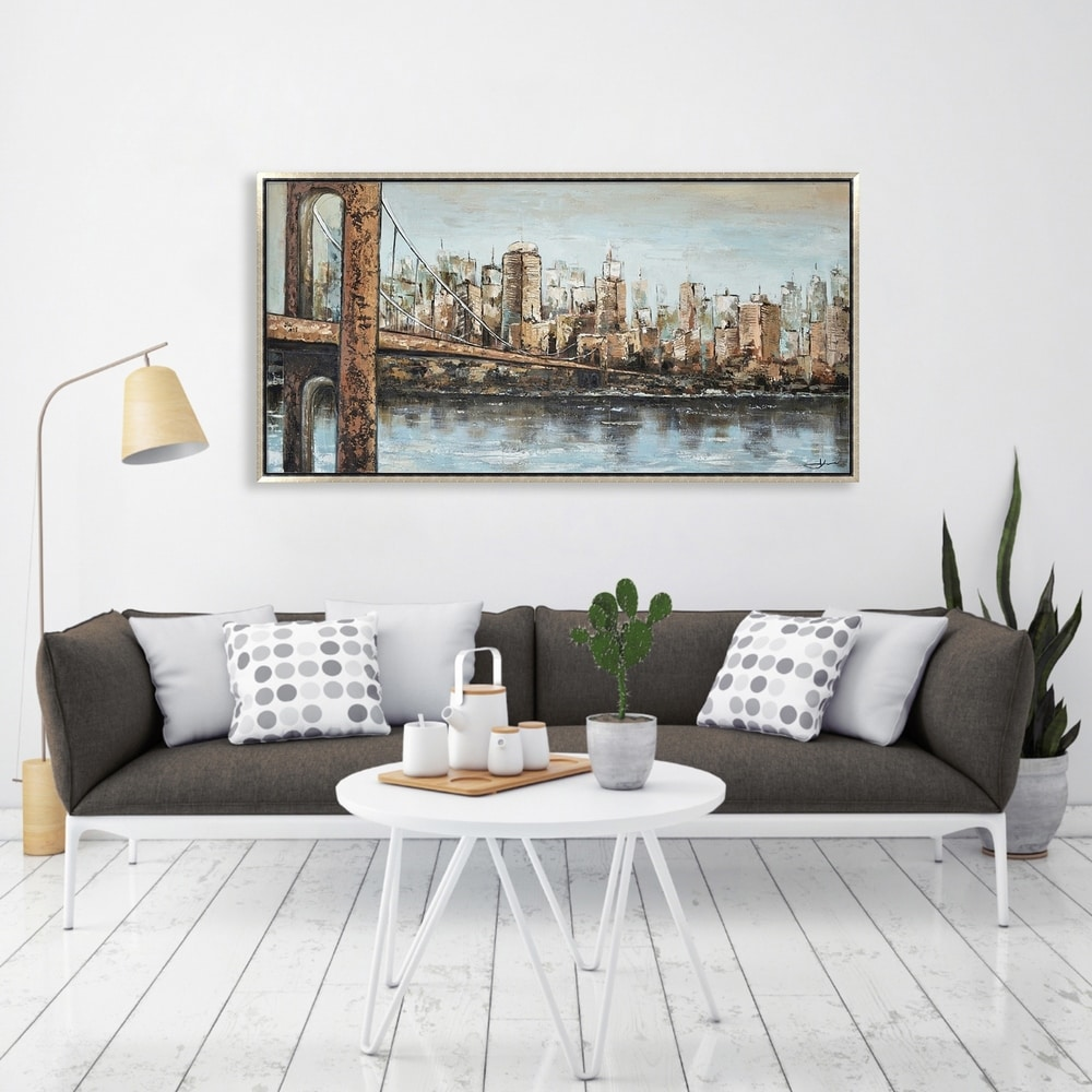 Hand Painted Acrylic Wall Art New York Cityscape on a 55 x 28 Rectangular Canvas with a Silver Wooden Frame. Opens flyout.