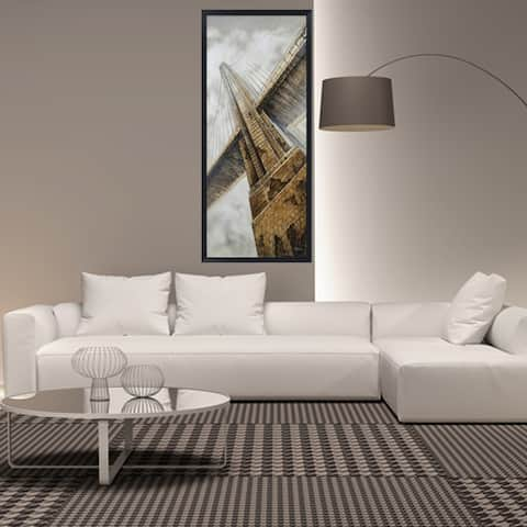 Hand Painted Acrylic and Foam 3D Wall Art Golden Gate Bridge 32 x 71 Rectangular Canvas with a Black Wooden Frame