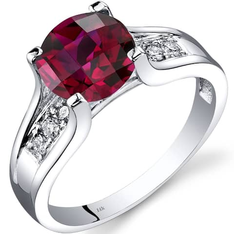 14K White Gold 2.50 ct Created Ruby Diamond Cathedral Ring, Size 7