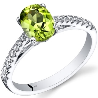 Link to 14K White Gold Oval Cut 1.25 cts Peridot Ring, Size 7 Similar Items in Rings