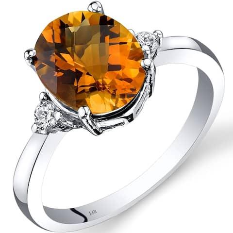 14K White Gold 2.25 ct Oval Cut Citrine Diamond Ring, Size 7