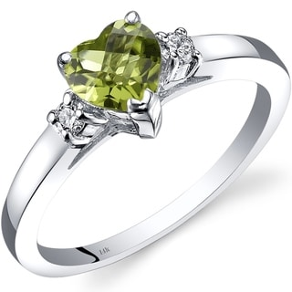 Link to 14K White Gold 1.00 ct Peridot Diamond Heart Ring, Size 7 Similar Items in Rings