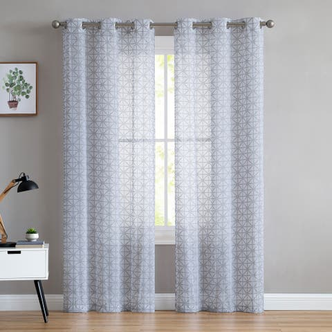 "VCNY Home Chole Puff Printing Geometric Sheer Curtain Panel Pair - 38"" x 84"""
