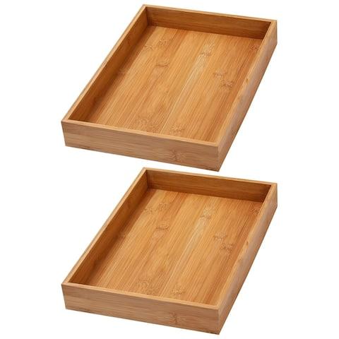 YBM Home Bamboo Kitchen Drawer Organizer Storage Box (Set of 2)