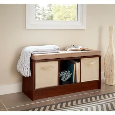 Porch & Den Southbrook 3-cube Storage Bench with Tan Cushion