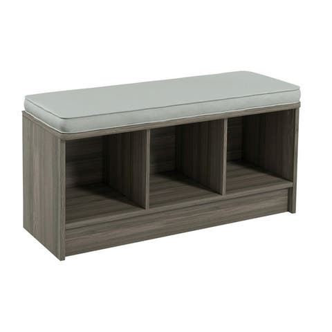 Porch & Den Southbrook 3-cube Storage Bench w/ Grey Cushion