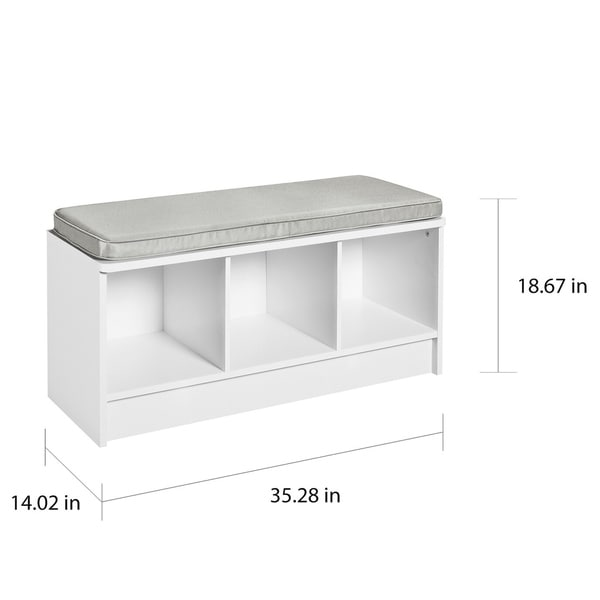Porch & Den Southbrook 3-cube Storage Bench with Grey Cushion