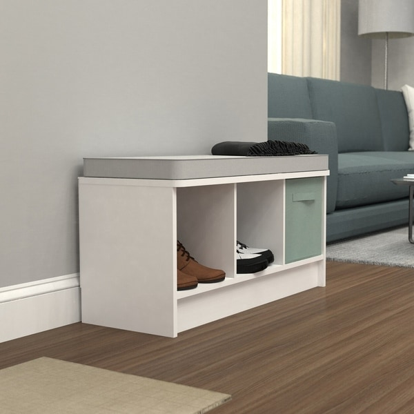 Porch & Den Southbrook 3-cube Storage Bench with Grey Cushion. Opens flyout.