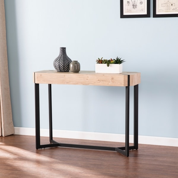 The Gray Barn Tierney Modern Farmhouse Natural Wood Console Table. Opens flyout.