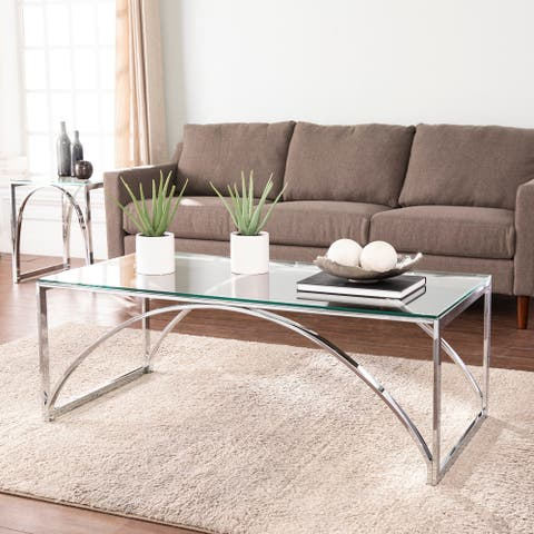 Silver Orchid Stene Contemporary Silver Glass Cocktail Table