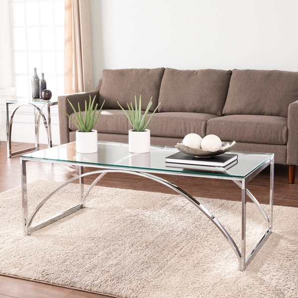 Silver Orchid Stene Contemporary Silver Glass Cocktail Table. Opens flyout.