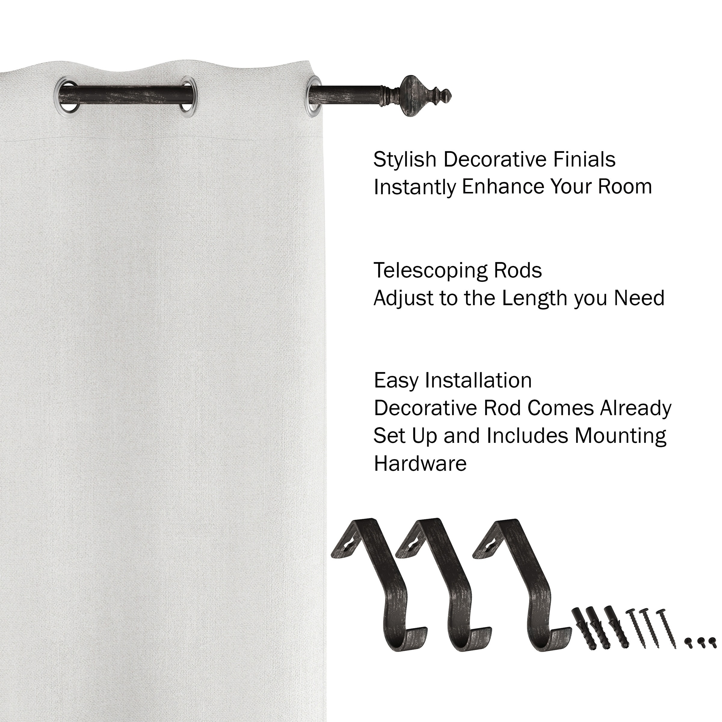 Distressed White Lavish Home 1-Inch Curtain Rod