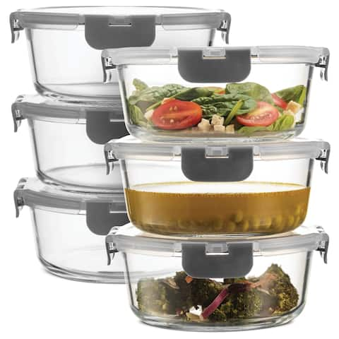 Superior Glass Round Meal Prep Containers -6pk (32oz)