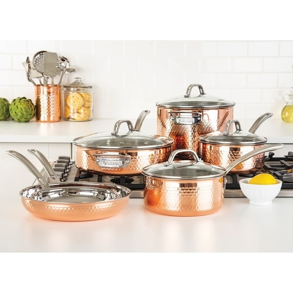 Viking Copper Clad 3-Ply Hammered, 10 Piece Cookware Set. Opens flyout.
