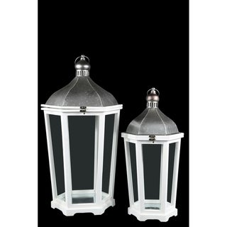 Wood Hexagon Lantern with Silver Metal Top, Ring Hanger and Glass Covered Sides Design Body Set of Two Painted Finish White